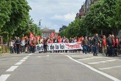 Avenue DE La Liberte met protestors Stock Afbeeldingen