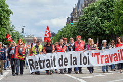 Avenue de la Liberte with protestors Royalty Free Stock Photo