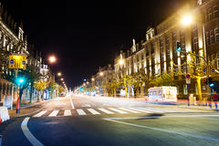 Avenue de la Liberte view at night in Luxembourg. With road and lights Royalty Free Stock Photo