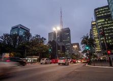 Avenue de Paulista à Sao Paulo, Brésil Photo stock