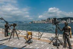 Avenue de statues des étoiles Tsim Sha Tsui Kowloon Hong images libres de droits