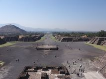Avenue of the Dead and pyramid of the Sun on left at Teotihuacan ruins near Mexico city landscape. Avenue of the Dead and pyramid of the Sun on left at stock photo
