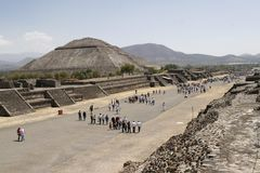 """Avenue of the Dead in Teotihuacan. """"Avenue of the Dead"""" in Teotihuacan pyramid complex on March 29, 2009 in Mexico. It's is a huge archaeological site with Stock Photo"""
