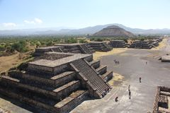 Avenue of the Dead at Teotihuacan ancient pre-Columbian site, Mexico Stock Images