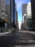 Avenue des Amériques dans la neige Photo libre de droits