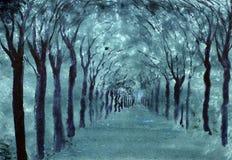 Avenue des arbres en parc illustration stock