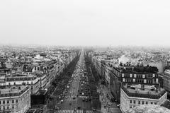 The Avenue des Champs-Élysées, Paris, France City skyline. Taken from the Arc De Triomphe, overlooking Paris city skyline stock images