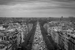 The 'Avenue des Champs-Élysées'. Taken from the top of the 'Arc de Triomphe Stock Image