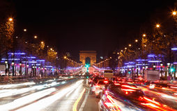 Avenue des Champs-Elysees. December illumination and traffic lights on the Avenue des Champs-Elysees in Paris,Europe royalty free stock photo