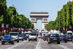 Avenue des Champs Elysees and Arc de Triomphe. Paris, France. Paris, France - July 07, 2017: The Avenue des Champs Elysees and Arc de Triomphe Arch of Triumph of stock images