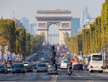 Avenue des Champs-Elysees  leading up to the Arc de Triomphe in Paris, France Stock Images
