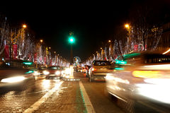Avenue des Champs Elysees at night. View from Triumphal Arch to Place de Concorde Royalty Free Stock Photography
