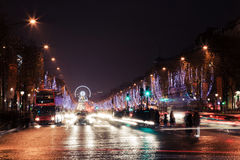 Avenue des Champs Elysees night view. From Triumphal Arch Royalty Free Stock Photography