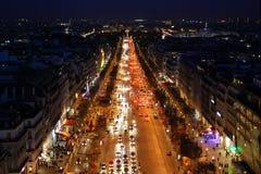 Avenue des Champs Elysees, Parijs, bij nacht Royalty-vrije Stock Foto