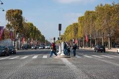 The Avenue des Champs-Elysees. PARIS, FRANCE - OCTOBER 11, 2015: The Avenue des Champs-Elysees is a boulevard in Paris, running between the Place de la Concorde royalty free stock images