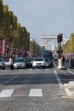 The Avenue des Champs-Elysees. PARIS, FRANCE - OCTOBER 11, 2015: The Avenue des Champs-Elysees is a boulevard in Paris, running between the Place de la Concorde stock images
