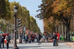 The Avenue des Champs-Elysees. PARIS, FRANCE - OCTOBER 11, 2015: The Avenue des Champs-Elysees is a boulevard in Paris, running between the Place de la Concorde royalty free stock photos