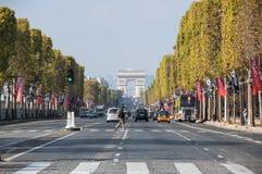 The Avenue des Champs-Elysees. PARIS, FRANCE - OCTOBER 11, 2015: The Avenue des Champs-Elysees is a boulevard in  Paris, running between the Place de la Concorde Royalty Free Stock Photography