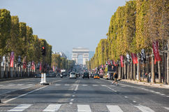 The Avenue des Champs-Elysees. PARIS, FRANCE - OCTOBER 11, 2015: The Avenue des Champs-Elysees is a boulevard in  Paris, running between the Place de la Concorde Stock Image