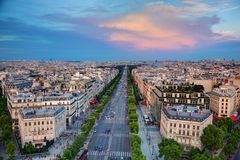 Avenue des Champs-Elysees in Paris, France. View on Avenue des Champs-Elysees from Arc de Triomphe at sunset, Paris, France Royalty Free Stock Images