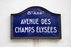 Avenue Des Champs-Elysees in Paris. Street sign for Avenue des Champs-Elysees in Paris royalty free stock photo