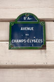 Avenue des Champs-Elysees plaque Stock Photography