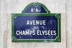 Avenue des Champs Elysees sign Stock Photos