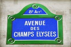 Avenue des Champs-Elysees. Street sign stock photography