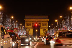 Avenue des Champs Elysees and Triumph Arch. PARIS - JANUARY 1: Avenue des Champs Elysees and Triumph Arch at night, January 01, 2010, Paris, France. From one Stock Image