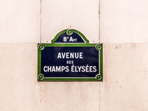 Avenue des Champy Elysees - old street sign in Paris Stock Photo