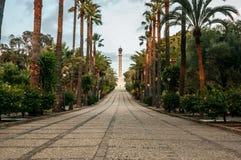 Avenue des découvertes, avec le monument aux découvreurs de l'Amérique, en La Rabida, ville de Palos de la Frontera, Huelva Image libre de droits