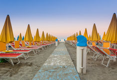 The avenue in the deserted beach before sunset royalty free stock images