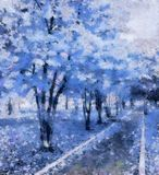 The avenue of dreams in the park, blue. The bright stylized illustration. The old park - the place for romantic meetings and dreams Stock Photos