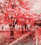 The avenue of dreams in the park, pink fall. The avenue of dreams in the park. The bright stylized illustration. The old park - the place for romantic meetings Stock Images