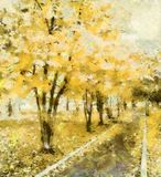The avenue of dreams in the park, yellow. The bright stylized illustration. The old park - the place for romantic meetings and dreams Stock Photo