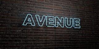 AVENUE - enseigne au néon réaliste sur le fond de mur de briques - image courante gratuite de redevance rendue par 3D illustration libre de droits