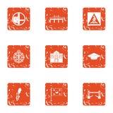 Avenue icons set, grunge style. Avenue icons set. Grunge set of 9 avenue vector icons for web isolated on white background Royalty Free Stock Photos