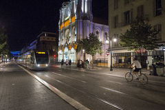 Avenue Jean Medecin by night, Nice, France Royalty Free Stock Photos