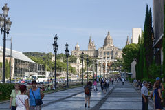 On the avenue leading to the National Museum of Art of Catalonia Royalty Free Stock Image