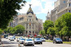Avenue in Madrid, Spain Royalty Free Stock Photo