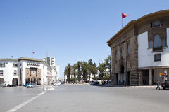 Avenue Mohammed V. The building of the Ministry of Post and Telegraph and the Bank Al-Maghrib. Rabat. Morocco. Royalty Free Stock Photo