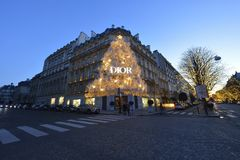 Avenue Montaigne in Paris. During the Christmas season, there are special lights on the Avenue Montaigne in the heart of Paris stock photography