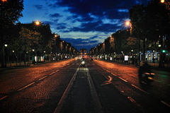 Avenue at night Royalty Free Stock Image