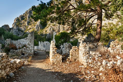 Avenue of North Necropolis. Ruins of ancient city Olympos in Lycia. Turkey Stock Image