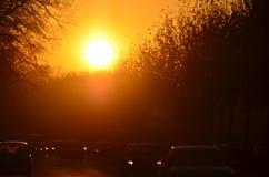 Avenue occupée de ville au lever de soleil Photographie stock libre de droits