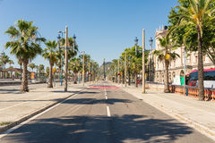 The Avenue Passeig de Colom in Barcelona Royalty Free Stock Photos