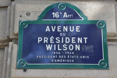 Avenue of President Wilson, Paris France - who lived from 1856 to 1924, AUGUST 2015 - Etats-Unis D'Amerique Royalty Free Stock Images