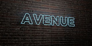 AVENUE -Realistic Neon Sign on Brick Wall background - 3D rendered royalty free stock image Royalty Free Stock Image