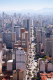 Avenue sao joao in sao paulo city. Aerial view of city sao paulo and avenue sao joao in center Royalty Free Stock Image