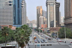 Avenue. This is shenzhen very busy busy avenue, high-rise, heavy traffic, crowded Royalty Free Stock Images
